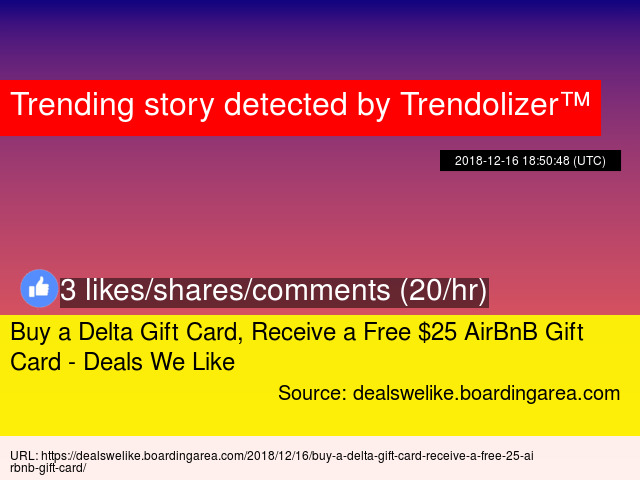 Buy A Delta Gift Card Receive A Free 25 Airbnb Gift Card Deals