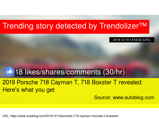2019 Porsche 718 Cayman T 718 Boxster T Revealed Here S What You Get