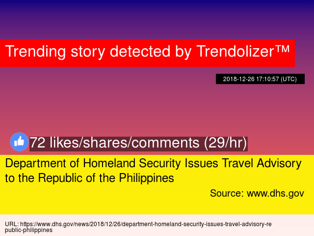 Department of Homeland Security Issues Travel Advisory to