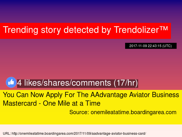 you can now apply for the aadvantage aviator business mastercard one mile at a time stats - Aviator Business Card